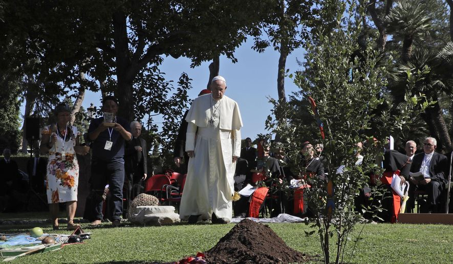 """In this Oct. 4, 2019, file photo, Pope Francis walks toward a newly planted oak tree during a tree-planting ceremony on the occasion of the feast of St. Francis of Assisi, the patron saint of ecology, at the Vatican. The COVID-19 pandemic has shown how the Earth can recover """"if we allow it to rest"""" and must spur people to adopt simpler lifestyles to help the planet, which is """"groaning,"""" under the constant demand for economic growth, Pope Francis said on Tuesday, Sept. 1, 2020, in his latest, urgent appeal to help a fragile environment. (AP Photo/Alessandra Tarantino, file)"""