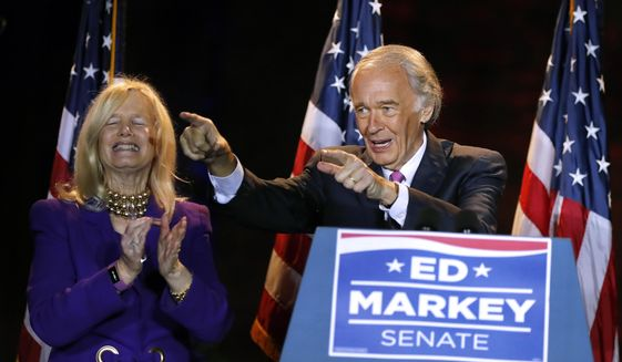 Incumbent U.S. Sen. Edward Markey celebrates with wife Susan, left, in Malden, Mass., after defeating U.S. Rep. Joe Kennedy III, Tuesday, Sept. 1, 2020, in the Massachusetts Democratic Senate primary. (AP Photo/Michael Dwyer) **FILE**