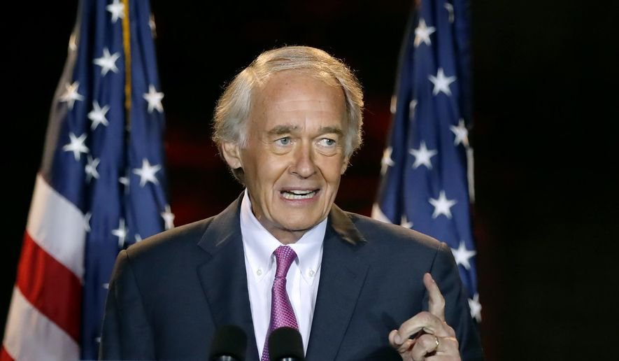 Incumbent U.S. Sen. Edward Markey speaks, Tuesday, Sept. 1, 2020, in Malden, Mass., after defeating U.S. Rep. Joe Kennedy III in the Massachusetts Democratic Senate primary. (AP Photo/Michael Dwyer) ** FILE **