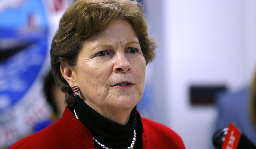 In this Friday, May 3, 2019, file photo, U.S. Sen. Jeanne Shaheen, D-N.H., speaks at the Portsmouth Naval Shipyard in Kittery, Maine. Shaheen is the incumbent Democrat candidate for Senate in the Sept. 8, 2020, New Hampshire primary election. (AP Photo/Robert F. Bukaty, File)