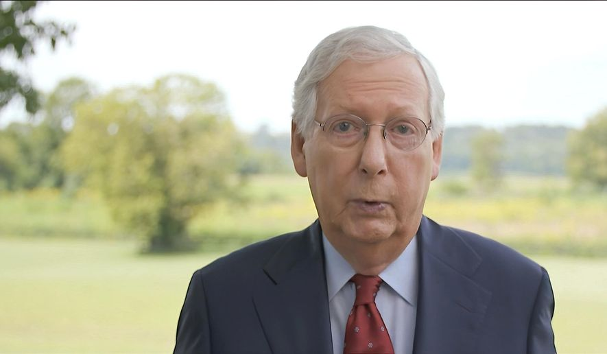In this image from video, Senate Majority Leader Mitch McConnell of Ky., speaks during the fourth night of the Republican National Convention on Thursday, Aug. 27, 2020. (Courtesy of the Committee on Arrangements for the 2020 Republican National Committee via AP)