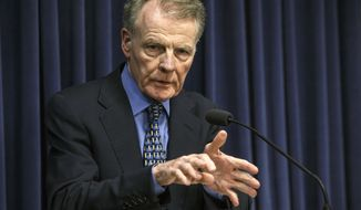"FILE - In this July 26, 2017, file photo, Illinois House Speaker Michael Madigan, D-Chicago, speaks at a news conference at the Capitol in Springfield, Ill. Illinois House Republicans have moved to form a special investigative committee on Speaker Madigan, who has been implicated in a federal bribery investigation. Republicans petitioned to form the committee this week, saying Wednesday, Sept. 2, 2020, that the House must ""do its job and conduct a thorough investigation."" (Justin Fowler/The State Journal-Register via AP, File)"