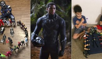 """This combination photo shows, from left, Gavyn Batiste, 7, dressed as Black Panther and surrounded by action figures in Lafayette, La. on Aug. 31, 2020, actor Chadwick Boseman in character as T'Challa in """"Black Panther"""" and 10-year old twins Lenny, left, and Bobby Homes paying tribute to Boseman at their home in in Mesa, Ariz. on Aug. 31, 2020. Boseman died of colon cancer on Friday, Aug. 28 at age 43. (Takiyah Dupas, Marvel Studios, Annalie Homes via AP)"""
