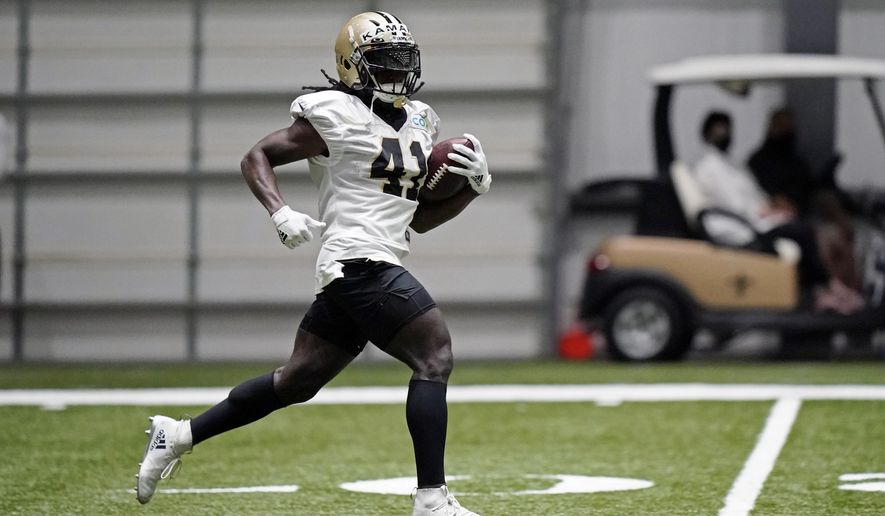 New Orleans Saints running back Alvin Kamara (41) runs through drills during practice at their NFL football training facility in Metairie, La., Wednesday, Sept. 2, 2020. (AP Photo/Gerald Herbert, Pool)