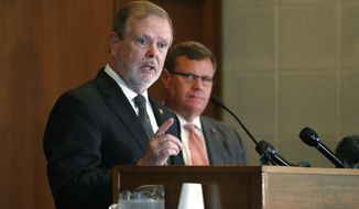N.C. Senate leader Phil Berger answers a question during a news conference with House Speaker Tim Moore on the first day of a special session Wednesday, Sept. 2, 2020 in Raleigh, N.C.  (Ethan Hyman/The News & Observer via AP)