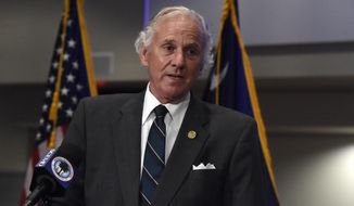 South Carolina Gov. Henry McMaster speaks during a COVID-19 briefing on Wednesday, July 29, 2020, in West Columbia, S.C. As of Monday, McMaster says all businesses will be allowed to be open, as long as they adhere to social distancing and capacity limits. (AP Photo/Meg Kinnard)