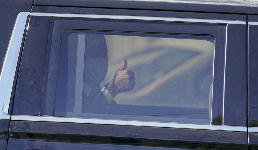 Democratic presidential candidate former Vice President Joe Biden gives a thumbs up as he leaves an event at a church, Thursday, Sept. 3, 2020, in Kenosha, Wis. (AP Photo/Morry Gash)