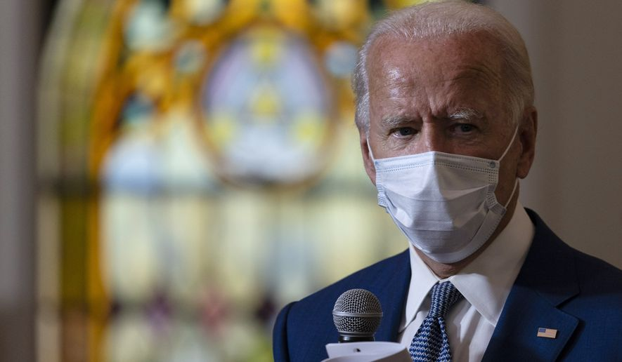 Democratic presidential candidate former Vice President Joe Biden meets with members of the community at Grace Lutheran Church in Kenosha, Wis., Thursday, Sept. 3, 2020. (AP Photo/Carolyn Kaster)