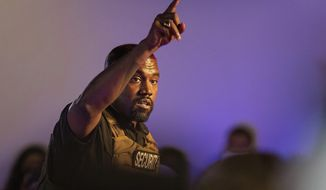 In this July 19, 2020, file photo, Kanye West makes his first presidential campaign appearance, in North Charleston, S.C. West has sued the West Virginia Secretary of State's Office after being told his bid to get on the ballot for president came up short on qualified signatures. (Lauren Petracca Ipetracca/The Post And Courier via AP, File)  **FILE**
