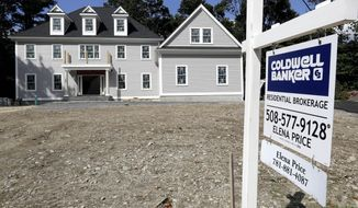 FILE - In this Sept. 3, 2019 file photo a sign rests in front of a newly constructed home, in Westwood, Mass. U.S. average rates on long-term mortgages changed little this week, remaining at historically low levels that has sparked demand for homes.  (AP Photo/Steven Senne, File)