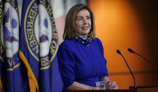 In this file photo, Speaker of the House Nancy Pelosi, D-Calif., speaks during a news conference at the Capitol in Washington, Thursday, Aug. 27, 2020. (AP Photo/J. Scott Applewhite)  **FILE**