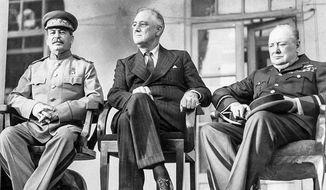 1943 tehran confernce, Josef Stalin, Franklin Roosevelt, Winston Churchill (FDR Library)