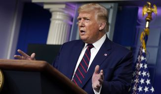 President Donald Trump speaks during a news conference in the James Brady Press Briefing Room at the White House, Friday, Sept. 4, 2020, in Washington. (AP Photo/Evan Vucci)
