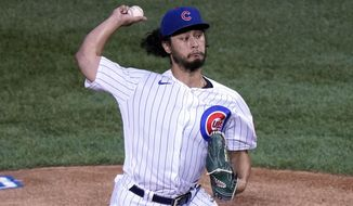 Chicago Cubs starting pitcher Yu Darvish, of Japan, throws against the St. Louis Cardinals during the first inning of a baseball game in Chicago, Friday, Sept. 4, 2020. (AP Photo/Nam Y. Huh)