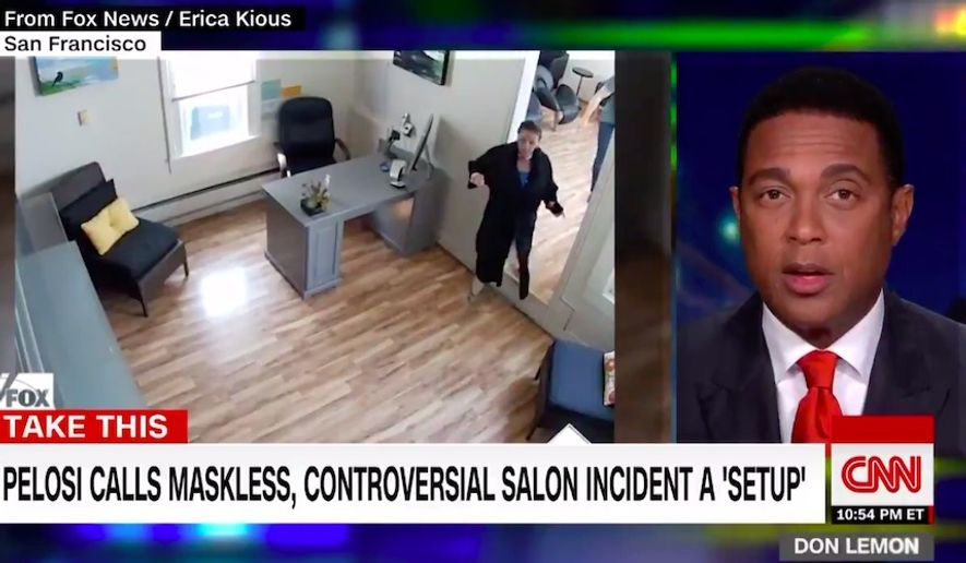 """CNN host Don Lemon scolded House Speaker Nancy Pelosi for claiming she was """"set up"""" by a San Francisco hair salon that exposed her indoors wash and dry that flouted coronavirus-related laws in the city. (Screen grab via CNN)"""