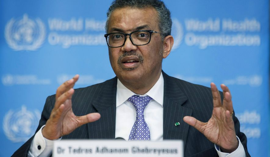 FILE - In this Monday, March 9, 2020 file photo, Tedros Adhanom Ghebreyesus, Director General of the World Health Organization speaks during a news conference on updates regarding COVID-19, at the WHO headquarters in Geneva, Switzerland. The head of the World Health Organization said the U.N. health agency would not recommend any COVID-19 vaccine before it is proved safe and effective, even as Russia and China have started using their experimental vaccines before large studies have finished and other countries have proposed streamlining authorization procedures.  At a press briefing on Friday, Sept. 4, 2020, Tedros Adhanom Ghebreyesus said vaccines have been used successfully for decades and credited them with eradicating smallpox and bringing polio to the brink of being eliminated.(Salvatore Di Nolfi/Keystone via AP, file)
