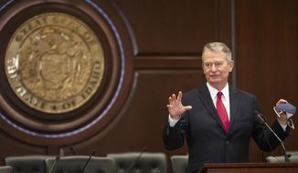 FILE - In this Thursday, Sept. 3, 2020, file photo, Idaho Gov. Brad Little speaks at a news conference, at the Statehouse in Boise, Idaho. Governors from 22 Western states and Pacific territories want a bigger say in how the Trump administration defines habitat for wildlife protected under the Endangered Species Act. The Western Governors Association said in a letter Thursday, Sept. 3, 2020, to the U.S. Fish and Wildlife Service that states should be equals in creating the new definition that could have implications for how states manage imperiled animals and plants. (Darin Oswald/Idaho Statesman via AP, File)