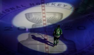 Dallas Stars' Jamie Benn warms up for Game 3 of the team's NHL hockey second-round playoff series against the Colorado Avalanche, Wednesday, Aug. 26, 2020, in Edmonton, Alberta. (Jason Franson/The Canadian Press via AP)