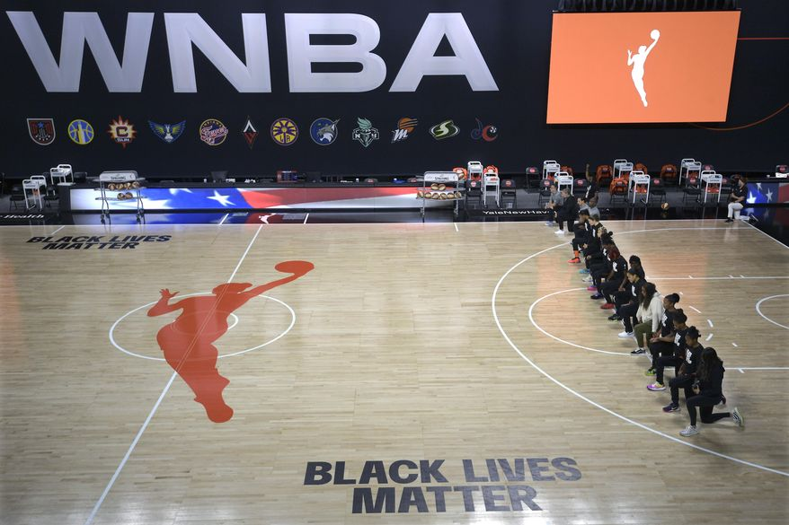 FILE - In this Aug. 30, 2020, file photo, members of the Connecticut Sun team kneel during the playing of the national anthem before a WNBA basketball game against the Washington Mystics, in Bradenton, Fla. Ahead of Labor Day, major U.S. labor unions say they are considering work stoppages in support of the Black Lives Matter movement. The unions say they're following the lead of professional athletes who last week staged strikes to protest the shooting of Jacob Blake in Kenosha, Wis. (AP Photo/Phelan M. Ebenhack, File)