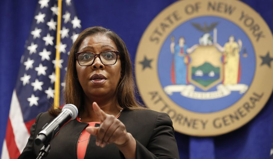 In this Aug. 6, 2020, photo, New York State Attorney General Letitia James takes a question at a news conference in New York. (AP Photo/Kathy Willens) **FILE**