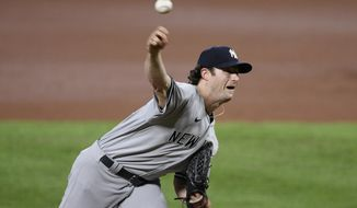 New York Yankees starting pitcher Gerrit Cole throws during the second inning of the team's baseball game against the Baltimore Orioles, Saturday, Sept. 5, 2020, in Baltimore. (AP Photo/Nick Wass)
