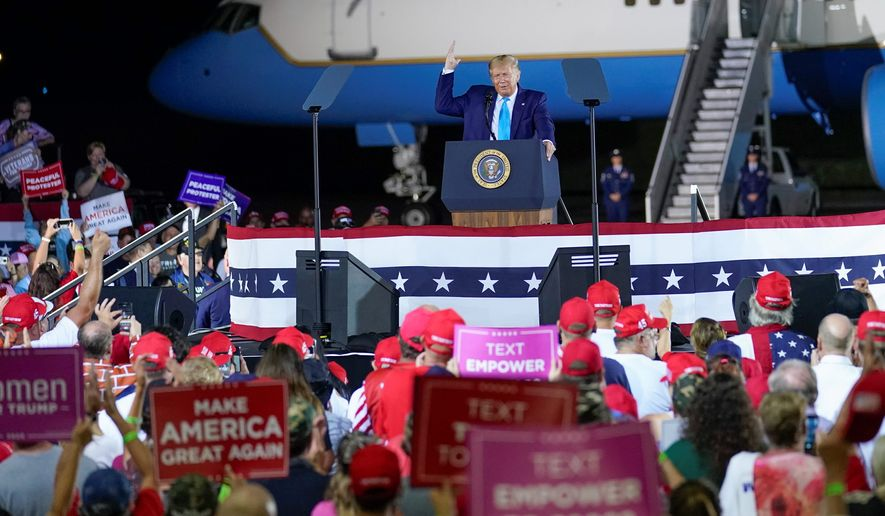 President Trump is running again on a message of law and order. He's also keeping the volume turned up against the news media. addresses a crowd at a campaign event at the Arnold Palmer Regional Airport, Thursday, Sept. 3, 2020, in Latrobe, Pa. (AP Photo/Keith Srakocic) (Associated Press)