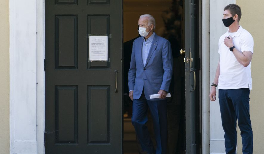 Democratic presidential candidate former Vice President Joe Biden leaves St. Joseph On the Brandywine Catholic Church after attending Mass in Wilmington, Del., Sunday Sept. 6, 2020. (AP Photo/Carolyn Kaster) **FILE**
