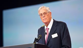 Koch Industries Executive Vice President David Koch speaks during the Defending the American Dream Summit sponsored by Americans for Prosperity at the Greater Columbus Convention Center on Friday, Aug. 21, 2015, in Columbus, Ohio. (Photo by Amy Harris/Invision/AP) ** FILE **