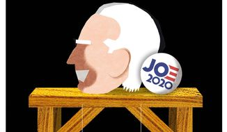Illustration on Joe Biden's campaign platform by Alexander Hunter/The Washington Times