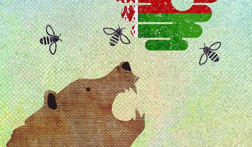 Beehive Bear Illustration by Greg Groesch/The Washington Times