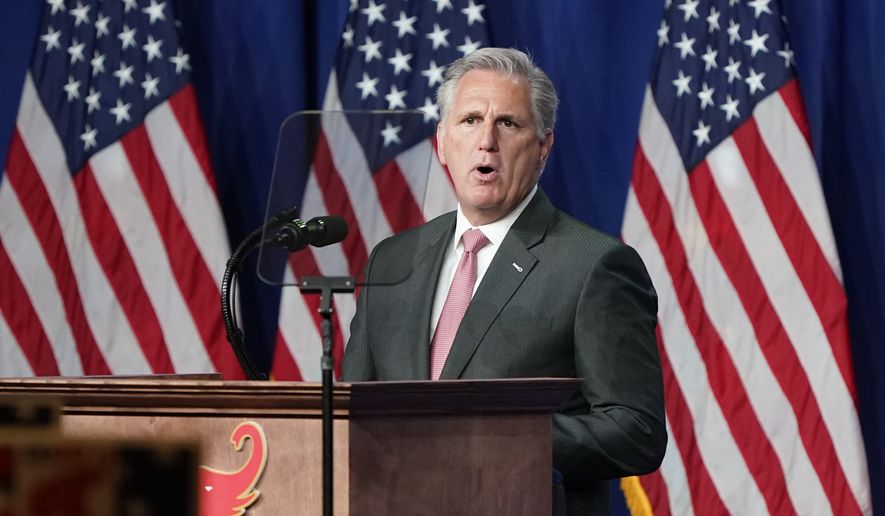 In this Aug. 24, 2020, file photo House Minority Leader Kevin McCarthy of Calif., speaks during the first day of the Republican National Convention in Charlotte, N.C.  (AP Photo/Chris Carlson, Pool, File)  ** FILE **