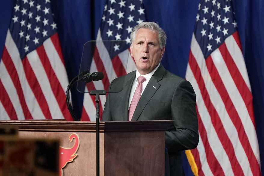 In this Aug. 24, 2020, file photo House Minority Leader Kevin McCarthy of Calif., speaks during the first day of the Republican National Convention in Charlotte, N.C.  (AP Photo/Chris Carlson, Pool, File)  **FILE**