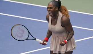 Serena Williams, of the United States, reacts after defeating Maria Sakkari, of Greece, during the quarterfinals of the US Open tennis championships, Monday, Sept. 7, 2020, in New York. (AP Photo/Seth Wenig)