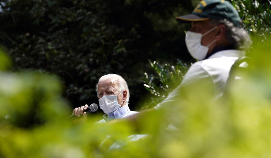 Democratic presidential candidate former Vice President Joe Biden arrives for an event with local union members in the backyard of a home in Lancaster, Pa., Monday, Sept. 7, 2020. (AP Photo/Carolyn Kaster)