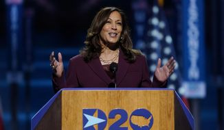 In this Wednesday, Aug. 19, 2020, file photo, Democratic vice presidential candidate Sen. Kamala Harris, of California, speaks during the third day of the Democratic National Convention, at the Chase Center in Wilmington, Del. Labor Day kicks off the unofficial start to fall election campaign. (AP Photo/Carolyn Kaster, File)