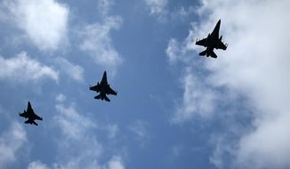 In this photo provided by the Greek Defense Ministry on Friday, Sept. 4, 2020, air force jets participate in a joined training drill with armed forces from Greece and the United Arab Emirates near the Greek island of Crete, southern Greece. Turkey's president on Saturday, Sept. 5, 2020, has warned Greece to enter talks over disputed eastern Mediterranean territorial claims or face the consequences. Ankara is currently facing off against Greece and Cyprus over oil and gas exploration rights in the eastern Mediterranean. All sides have deployed naval and air forces to assert their competing claims in the region. (Greek Defense Ministry via AP)