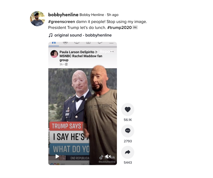 In this screengrab taken from a video posted on the TikTok feed of Bobby Henline, a Army veteran and supporter of President Trump, Henline stands in front of an image of his face used in an anti-Trump meme, which he objected to. (TikTok)