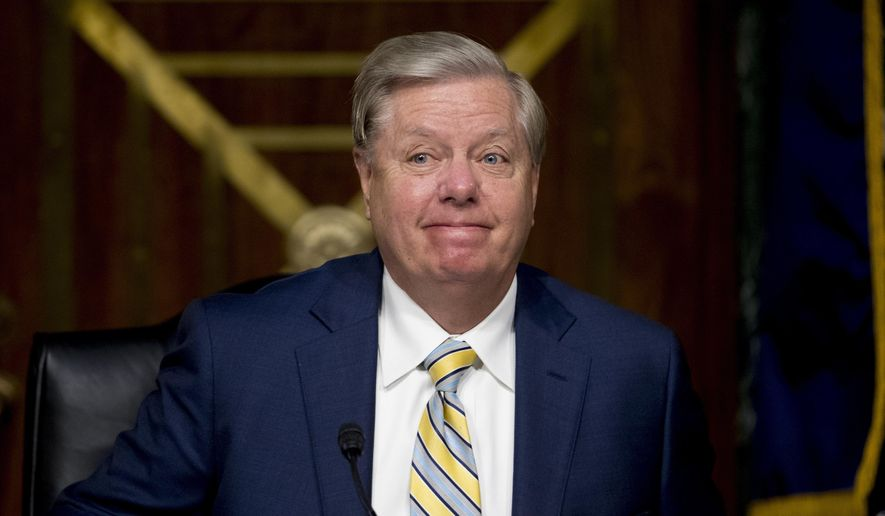In this June 9, 2020, file photo, Chairman Sen. Lindsey Graham, R-S.C., arrives for a Senate Judiciary Committee hearing on Capitol Hill in Washington. (AP Photo/Andrew Harnik, Pool, File)