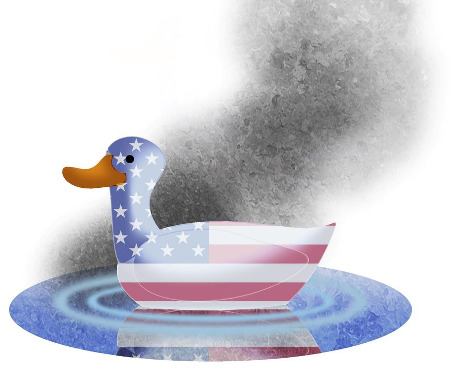 Illustration on current American vulnerability by Alexander Hunter/The Washington Times