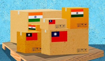 India and Taiwan Increased Trade Illustration by Greg Groesch/The Washington Times
