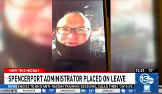 "Steven Lysenko, a 9th-grade teacher and assistant principal at Spencerport Schools, was placed on leave this week after yelling, ""f---k the police,"" in a video posted on social media. (screen grab via WHAM)"