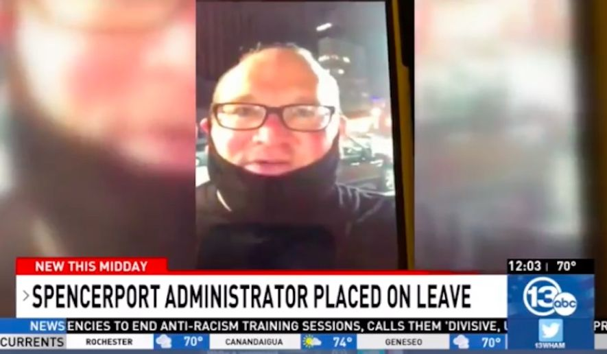 """Steven Lysenko, a 9th-grade teacher and assistant principal at Spencerport Schools, was placed on leave this week after yelling, """"f---k the police,"""" in a video posted on social media. (screen grab via WHAM)"""