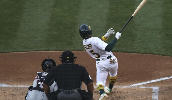 Oakland Athletics Tony Kemp hits an RBI double against the Houston Astros during the second inning of a baseball game in Oakland, Calif., Monday, Sept. 7, 2020. (AP Photo/Jed Jacobsohn)