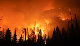 The Creek Fire burns in the Sierra National Forest, Sunday, Sept. 6, 2020, near Big Creek, Calif. (AP Photo/Marcio Jose Sanchez)