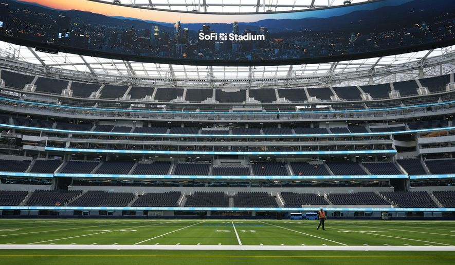 A field-level view of SoFi Stadium, the future home for NFL football's Los Angeles Rams and Los Angeles Chargers, is shown Friday, Sept. 4, 2020, in Inglewood, Calif. (AP Photo/Marcio Jose Sanchez)