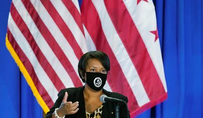 """""""Let me be clear: We believe that in-person learning is preferred to virtual learning, but we also know that we have to do it in a safe way,"""" D.C. Mayor Muriel Bowser said Wednesday at a press conference. District of Columbia Mayor Muriel Bowser speaks at a news conference on the coronavirus outbreak and the District's response, Monday, Aug. 17, 2020, in Washington. (AP Photo/Patrick Semansky) (ASSOCIATED PRESS)"""