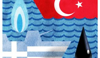 Illustration on Greek/Turkish conflicts by Alexander Hunter/The Washington Times