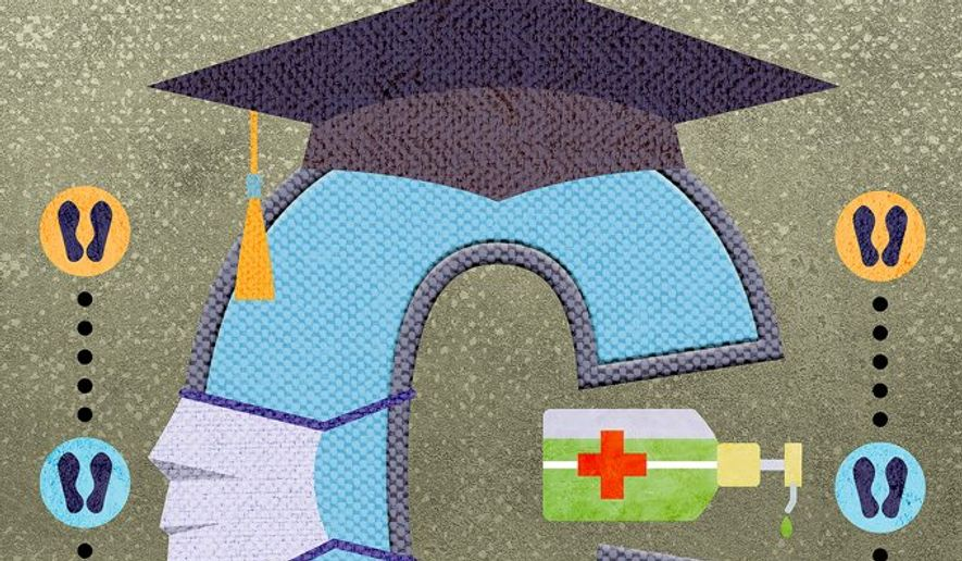 Sensible Return to College during COVID-19 Illustration by Greg Groesch/The Washington Times
