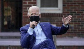 Democratic presidential candidate former Vice President Joe Biden speaks during a campaign event with steelworkers in the backyard of a home in Detroit, Wednesday, Sept. 9, 2020. (AP Photo/Patrick Semansky)