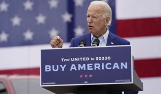 Democratic presidential candidate former Vice President Joe Biden speaks at a campaign event on manufacturing and buying American-made products at UAW Region 1 headquarters in Warren, Mich., Wednesday, Sept. 9, 2020. (AP Photo/Patrick Semansky)